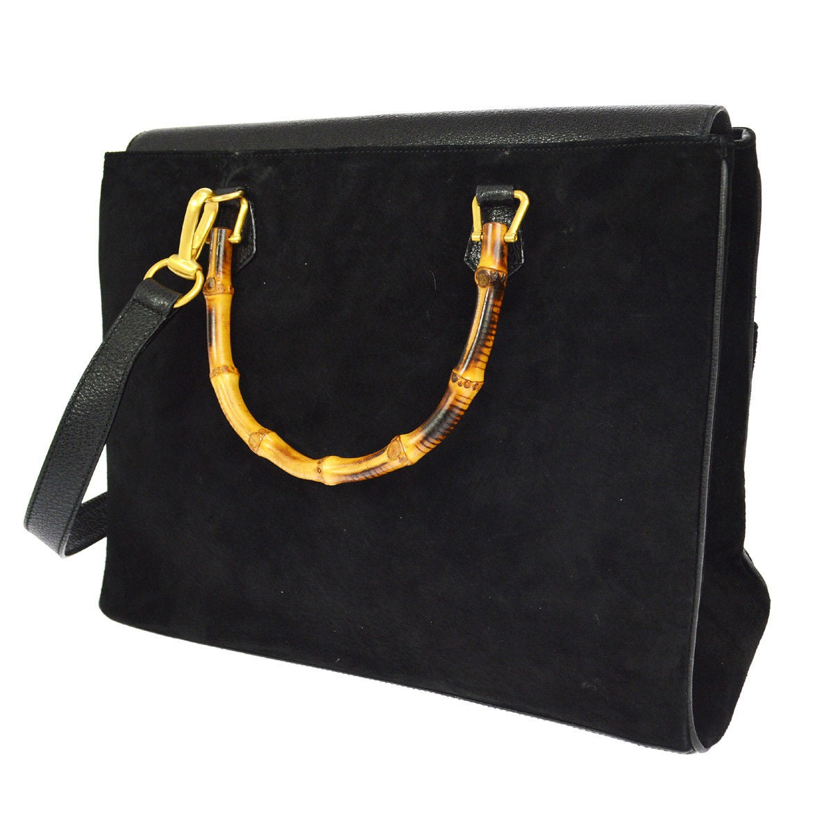 5b823957d74 ... Gucci Bamboo Handle 2way Hand Black Suede Leather Vintage Shoulder Bag  tradesy ...