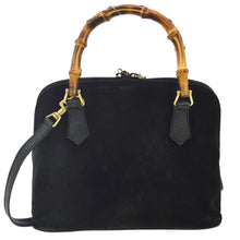 Gucci Vintage Purses/Designer Purses Black Leather with Bamboo Accents Satchel