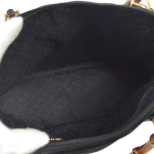 GUCCI GG Black Suede Bamboo 2Way Bag