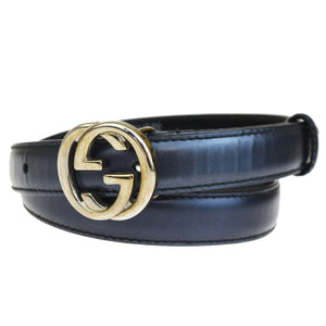 GUCCI GG Black Leather W/ Buckle BeltGUCCI GG Black Leather With Silver Buckle Belt