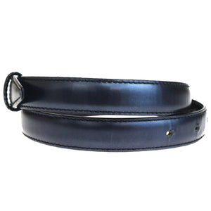 GUCCI GG Black Leather W/ Silver Buckle Belt