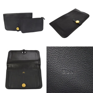 Men's noir Togo leather Hermès Dogon Combined wallet with Gold-plated hardware,