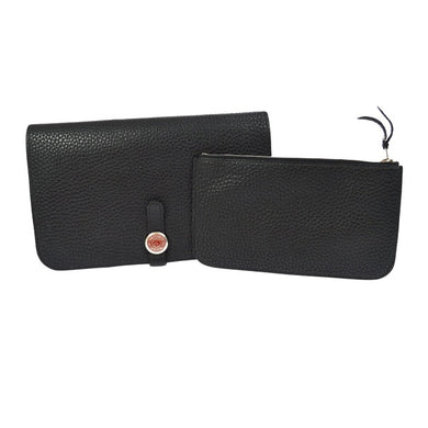 Men's noir Togo leather Hermès Dogon Combined wallet with palladium-plated hardware,