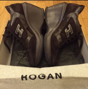 Authentic HOGAN  Brown Suede Patent Leather Sneakers
