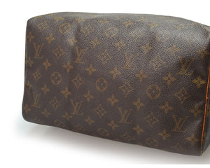 Louis Vuitton Speedy 30 Brown Tan Leather Monogram Satchel