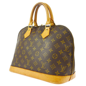 ,Louis Vuitton Alma Monogram Pm Brown Canvas Leather Satchel