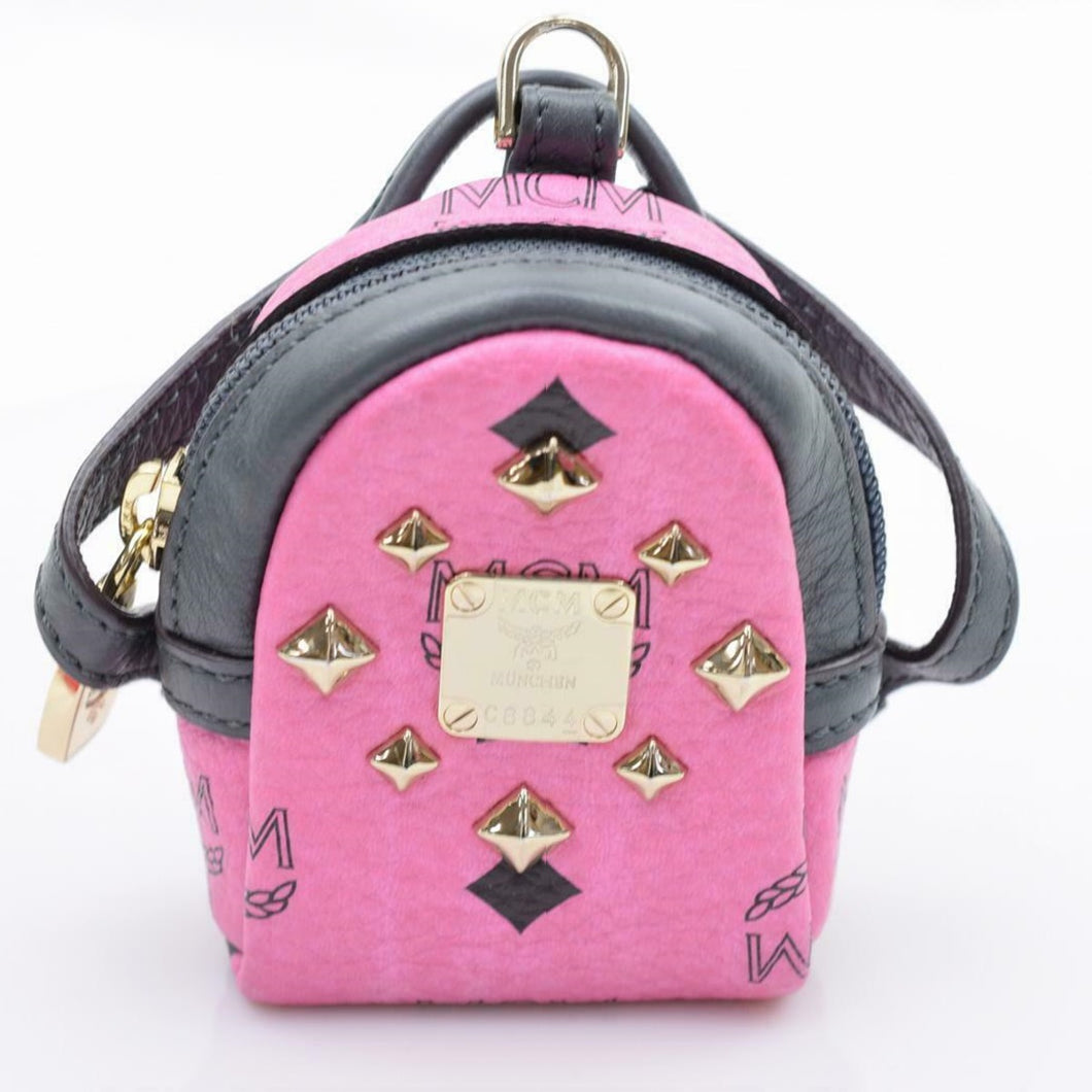 MCM Visetos Mini Backpack Key Chain