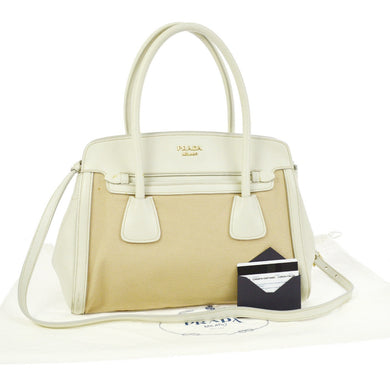 PRADA Saffiano & Canapa Tote kendall jenner,Prada white saffiano bag kylie jenner, Prada shoulder bag kendall jenner
