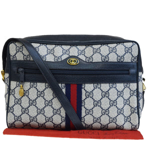 Vintage Purses/Designers Purses Blue Large G Logo Print Coated Canvas and Navy Leather with Red & Green Stripe Cross Body Bag,