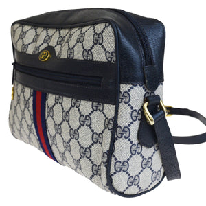 Vintage Purses/Designers Purses Blue Large G Logo Print Coated Canvas and Navy Leather with Red & Green Stripe Cross Body Bag