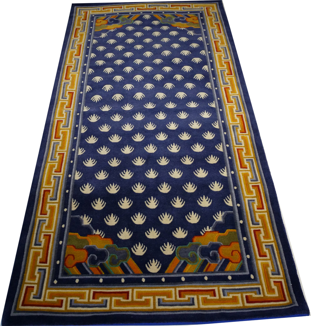 Hand-knotted Rug-Tibetan Traditional Punja Blue Bright - Decorative Rugs Studio, LLC
