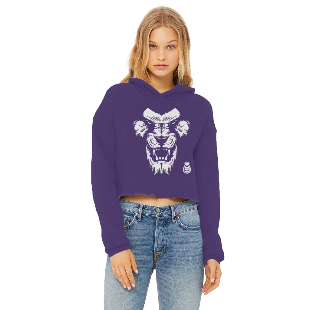 King W Ladies Cropped Raw Edge Hoodie