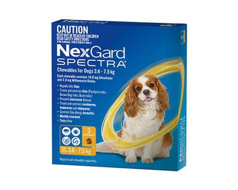 Nexgard Spectra for dogs 3.6-7.5 kg pack of 6 Small dogs