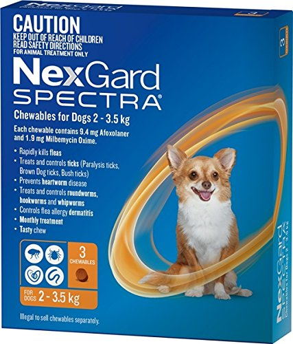 Nexgard Spectra for dogs 2 - 3.5 kg pack of 3 Very Small dogs