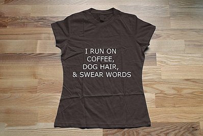 I Run on Coffee, Dog Hair and Swear Words V Neck UPF50 T Shirt