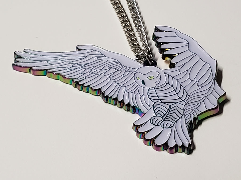 "Necklace Pendant - ""Flying Owl"" - Glow in the Dark"