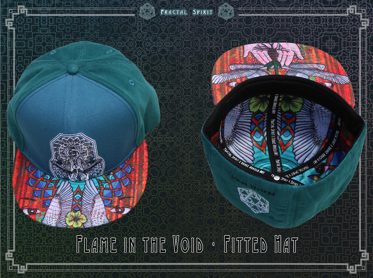 Hat, Fitted - Flame in the Void - Fractal Spirit