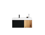 "LUGANO 42"" MATTE BLACK GLASS/MAPLE WALL MOUNT MODERN BATHROOM VANITY"