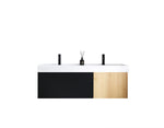 "LUGANO 55"" MATTE BLACK GLASS/MAPLE WALL MOUNT MODERN BATHROOM VANITY"
