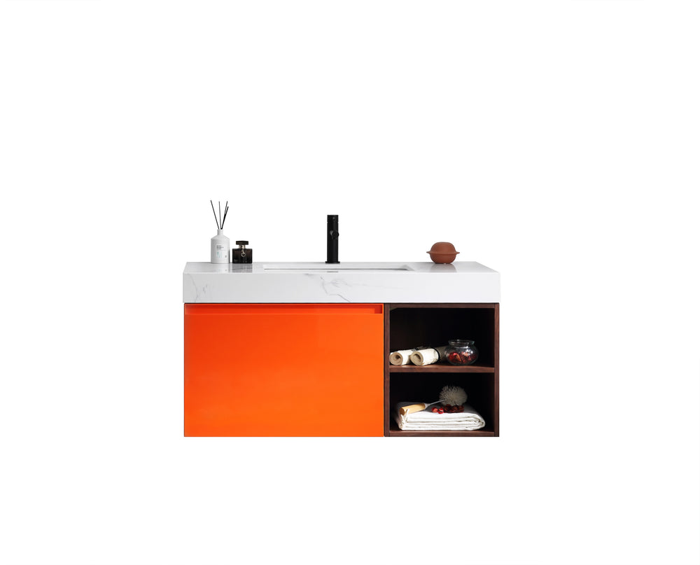 "MANAROLA 42"" RED AMBER WITH THICK QUARTZ WALL MOUNT MODERN BATHROOM VANITY (OPEN SHELVES)"