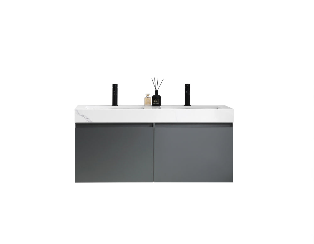 "MANAROLA 48""  DARK GRAY WITH THICK QUARTZ WALL MOUNT MODERN BATHROOM VANITY"