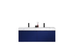 "MANAROLA 60""  NAVY BLUE WITH THICK QUARTZ WALL MOUNT MODERN BATHROOM VANITY"