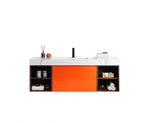 "MANAROLA 60"" RED AMBER WITH THICK QUARTZ WALL MOUNT MODERN BATHROOM VANITY (OPEN SHELVES)"