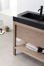 "BIBURY 60"" CHESTNUT OAK FREESTANDING MODERN BATHROOM VANITY"