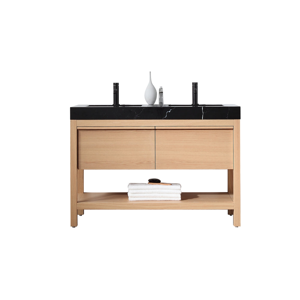 "BIBURY 48"" WHITEWASH OAK FREESTANDING MODERN BATHROOM VANITY"