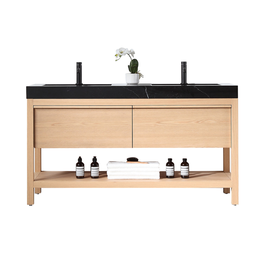 "BIBURY 60"" WHITEWASH OAK FREESTANDING MODERN BATHROOM VANITY"