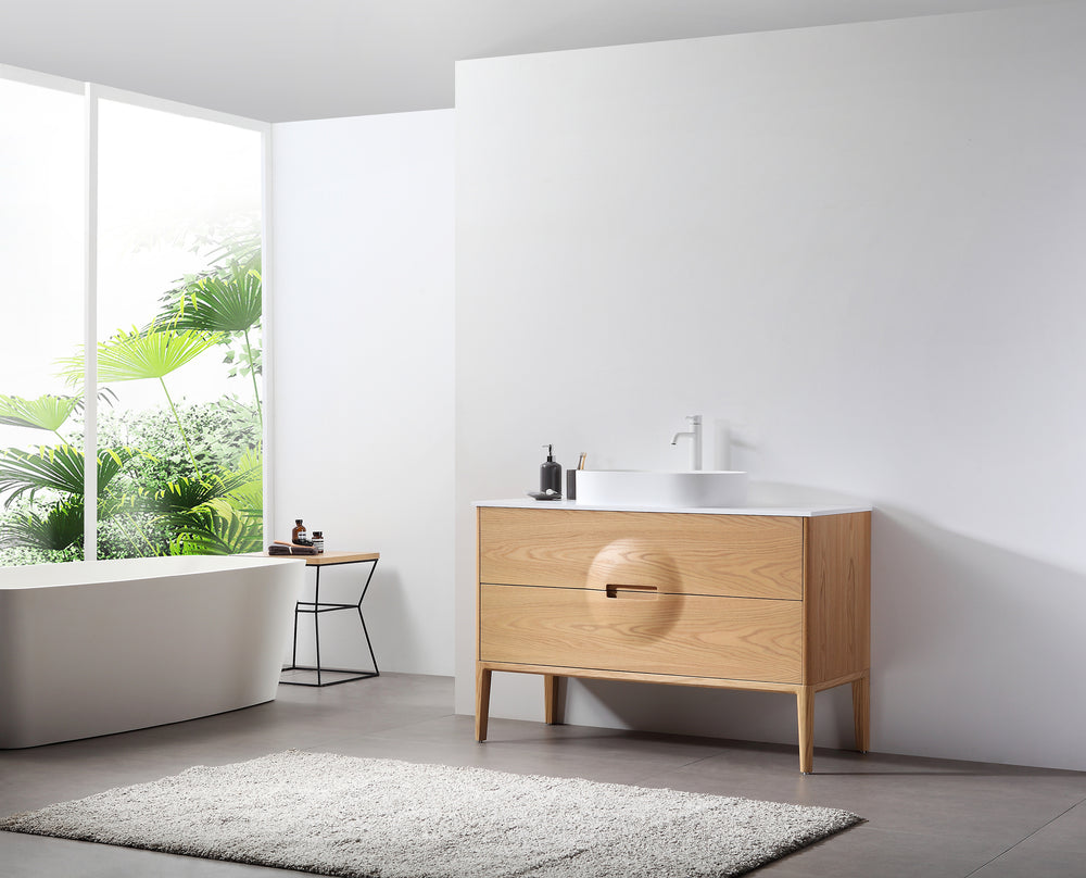 "COLMAR 48""  WHITEWASH OAK FREESTANDING MODERN BATHROOM VANITY"