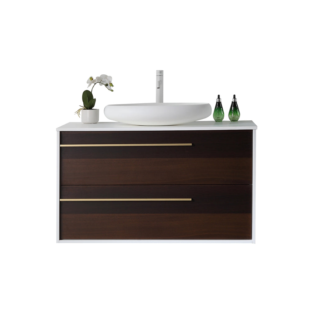"GOREME 42"" SMOKE OAK GRAY WALL MOUNT MODERN BATHROOM VANITY"