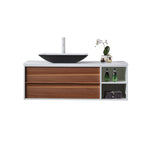 "GOREME 48""  WALNUT/WHITE OAK WALL MOUNT MODERN BATHROOM VANITY"