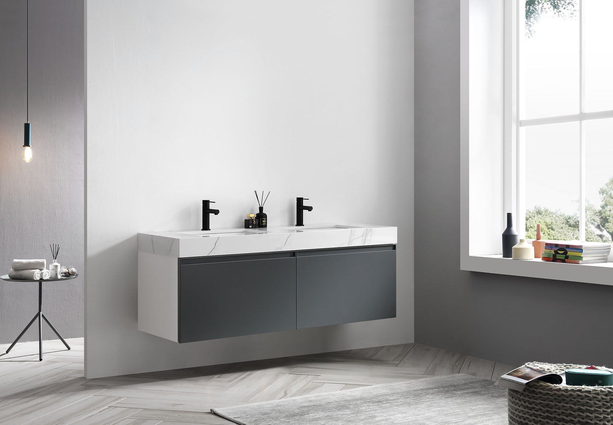 Manarola 60 Dark Gray With Thick Quartz Wall Mount Modern Bathroom Va Kartonrepublic
