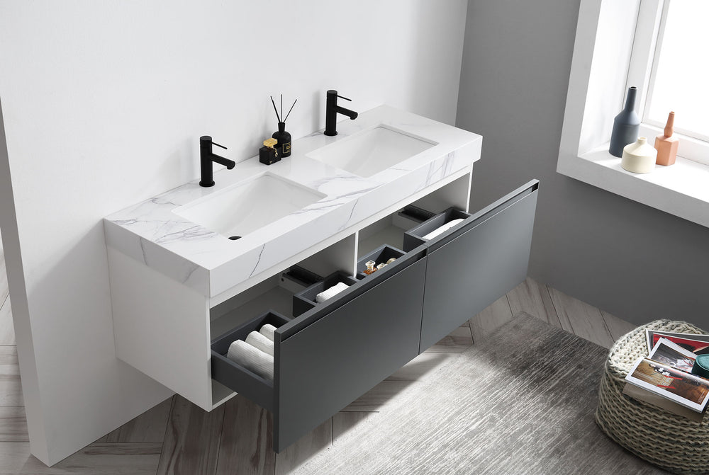 "MANAROLA 60""  DARK GRAY WALL MOUNT MODERN BATHROOM VANITY"