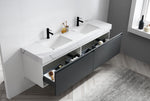 "MANAROLA 72"" DARK GRAY WITH THICK QUARTZ WALL MOUNT MODERN BATHROOM VANITY"