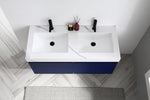 "MANAROLA 48""  NAVY BLUE WITH THICK QUARTZ WALL MOUNT MODERN BATHROOM VANITY"