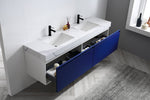 "MANAROLA 72""  NAVY BLUE WITH THICK QUARTZ WALL MOUNT MODERN BATHROOM VANITY"