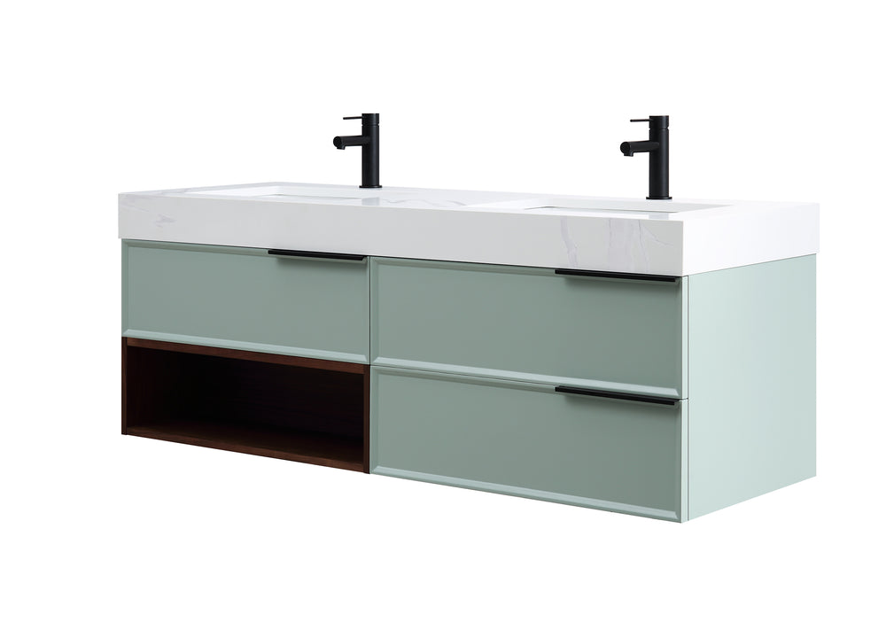 "MARFA 60"" ALOE GREEN/WALNUT WALL MOUNT MODERN BATHROOM VANITY"