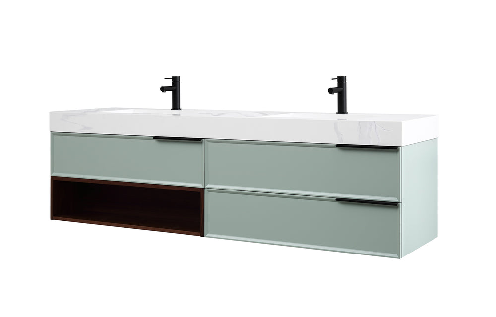 "MARFA 72"" ALOE GREEN/WALNUT WALL MOUNT MODERN BATHROOM VANITY"