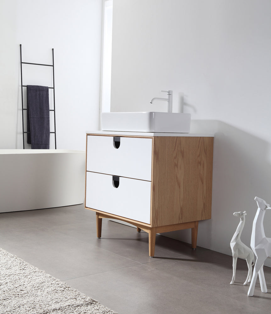 "PORTREE 30"" MATTE WHITE MID-CENTURY FREESTANDING BATHROOM VANITY"