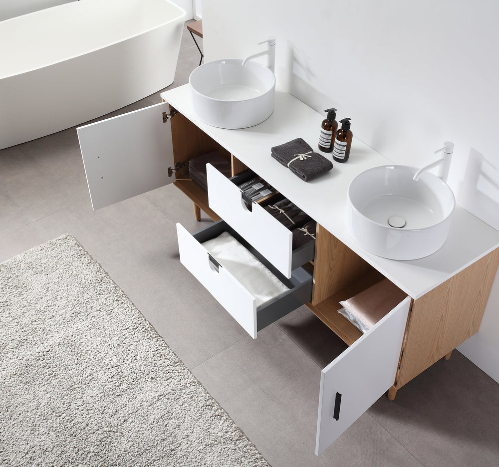 "PORTREE 72""  MATTE WHITE MID-CENTURY FREESTANDING BATHROOM VANITY"