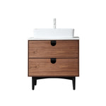"PORTREE 30"" WALNUT MID-CENTURY FREESTANDING BATHROOM VANITY"