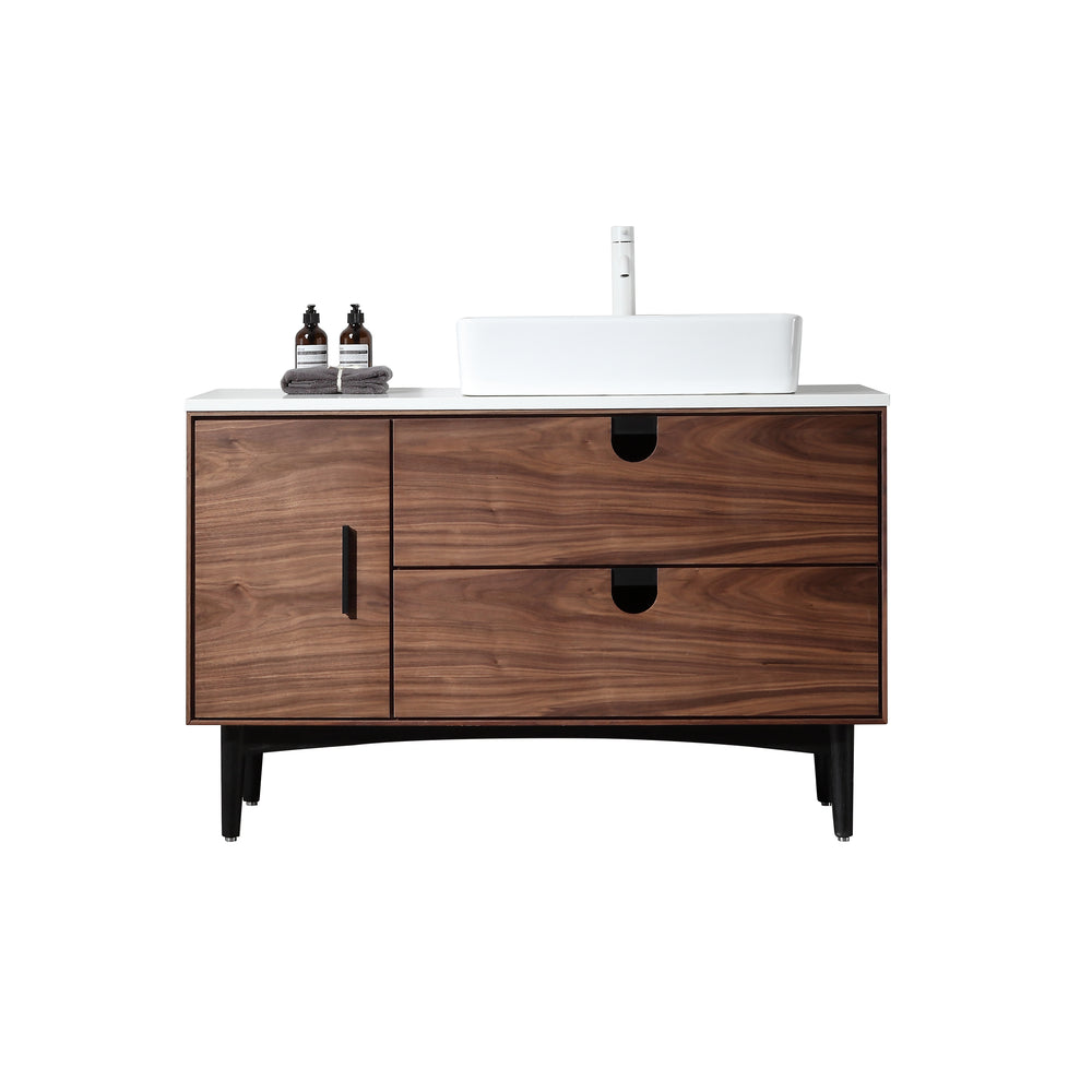 "PORTREE 48"" WALNUT MID-CENTURY FREESTANDING BATHROOM VANITY"
