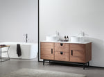"PORTREE 60"" WALNUT MID-CENTURY FREE STANDING BATHROOM VANITY"