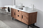 "PORTREE 60"" WALNUT MID-CENTURY FREESTANDING BATHROOM VANITY"