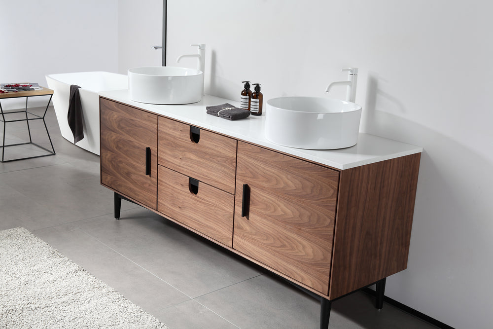 "PORTREE 72""  WALNUT MID-CENTURY FREE STANDING BATHROOM VANITY"
