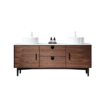 "PORTREE 72""  WALNUT MID-CENTURY FREESTANDING BATHROOM VANITY"