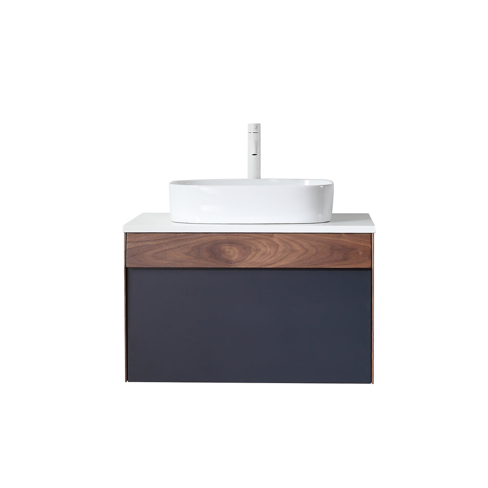 "RONDA 30"" DARK BLUE WALL MOUNT MODERN BATHROOM VANITY"