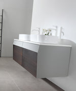 "RONDA 55"" SMOKE GRAY OAK WALL MOUNT MODERN BATHROOM VANITY"
